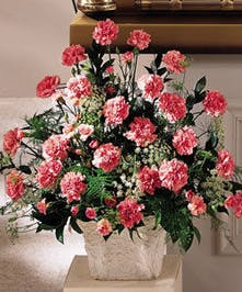 Pink Carnation Funeral Arrangement