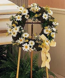 Daisy & Moss Wreath Easel Spray