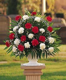 Red and White Funeral Arrangement