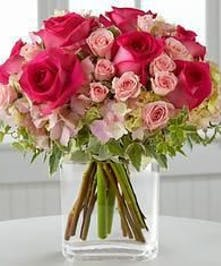 Pink Rose and Hydrangea Arrangement
