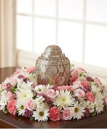 Pink and White Urn Piece