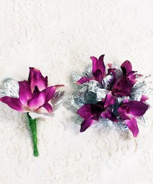 Dendrobium Wrist Corsage and Boutonniere