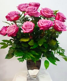 Roses Arranged in Silver Vase