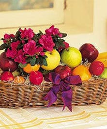 Fruit Basket with Blooming Plant