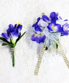 Freesia Silk Wrist Corsage and Boutonniere