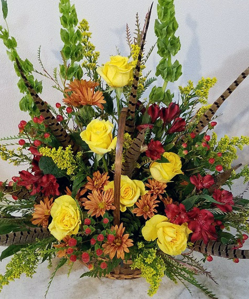 Fall themed sympathy flowers gifts fridley florist flower delivery fall themed funeral flowers sympathy arrangement izmirmasajfo