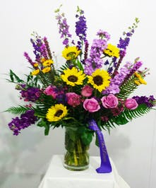 Sunflower and Purple Traditional Style Arrangement