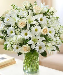 White Rose, Daisy and Lily Arrangement