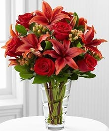 Red Rose and Lily Floral Arrangement