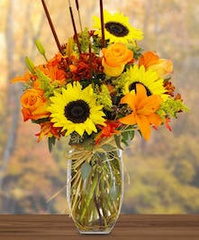 Sunflower and Lily Fall Arrangement