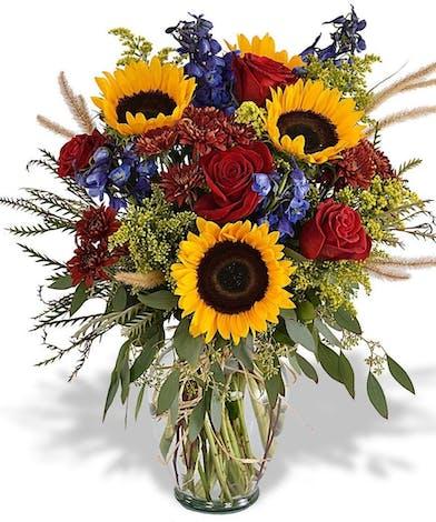 Sunflower, Rose and Delphinium Bouquet
