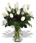 One Dozen White Purity Roses