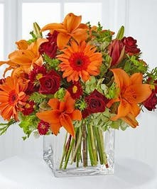 Gerbera, Rose and Lily Fall Arrangement