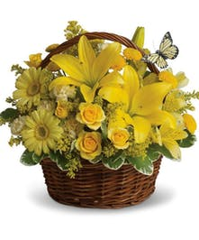 Yellow Basket Floral Arrangement