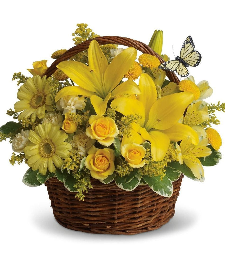 Loving Wishes Yellow Floral Basket Arrangement In Minneapolis Mn