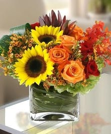 Sunflower and Rose Floral Arrangement