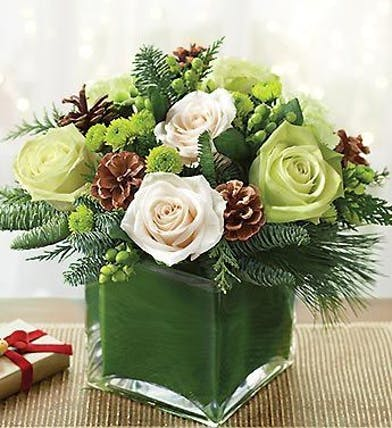 Rose and Pinecone Winter Cube Arrangement