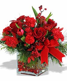 Red Holiday Cube Floral Arrangement