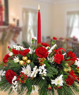 Single Candle Holiday Centerpiece