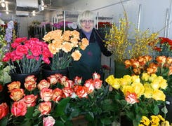Store owner Marcia Schaaf gathers flowers for her next arrangement